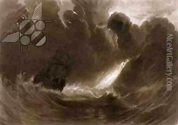 Ship in a Storm, from the Little Liber, engraved by the artist, c.1826 Oil Painting - Joseph Mallord William Turner