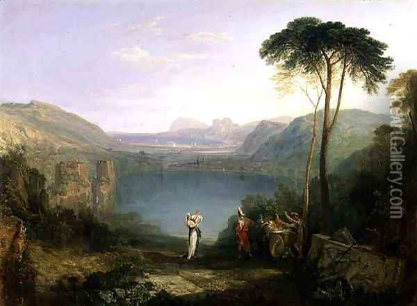 Lake Avernus Aeneas and the Cumaean Sibyl, c.1814-5 Oil Painting - Joseph Mallord William Turner