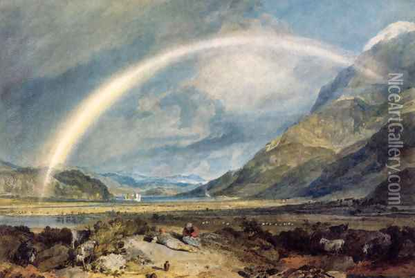 Kilchern Castle With The Cruchan Ben Mountains Scotland Noon Oil Painting - Joseph Mallord William Turner