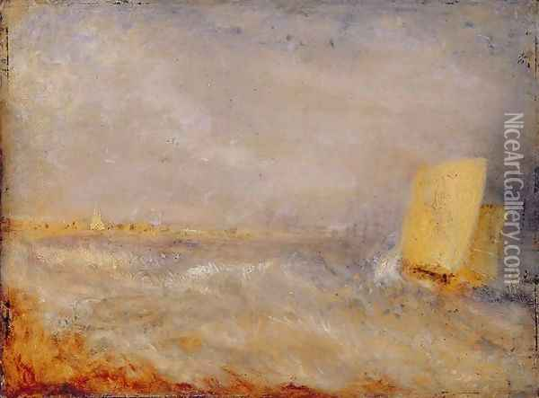 A Sailing Boat off Deal, c.1835 Oil Painting - Joseph Mallord William Turner