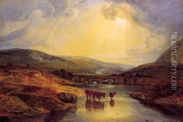 Abergavenny Bridge Monmountshire Clearing Up After A Showery Day Oil Painting - Joseph Mallord William Turner