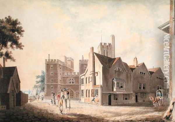 A View of the Archbishops Palace, Lambeth, 1790 Oil Painting - Joseph Mallord William Turner
