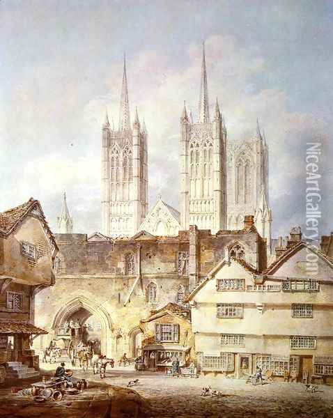 Cathedral Church At Lincoln Oil Painting - Joseph Mallord William Turner