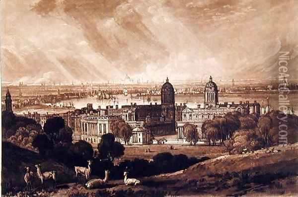London from Greenwich, engraved by Charles Turner 1773-1857 1811 Oil Painting - Joseph Mallord William Turner