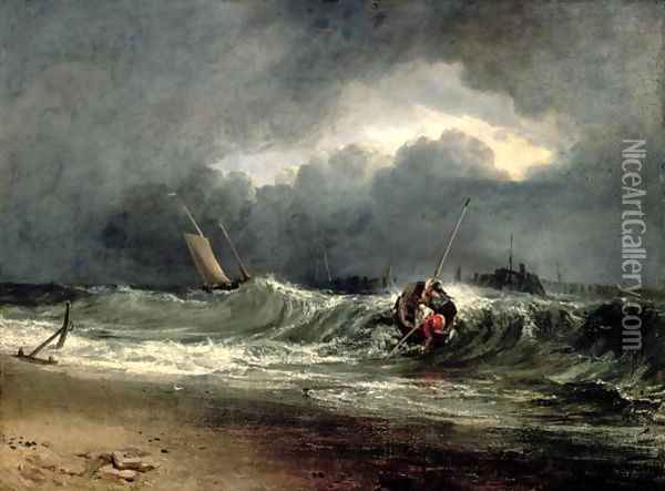 Fishermen upon a lee-shore in squally weather Oil Painting - Joseph Mallord William Turner