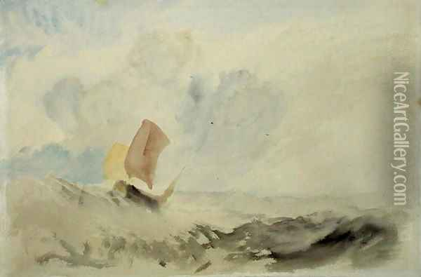 A Sea Piece - A Rough Sea with a Fishing Boat, 1820-30 Oil Painting - Joseph Mallord William Turner
