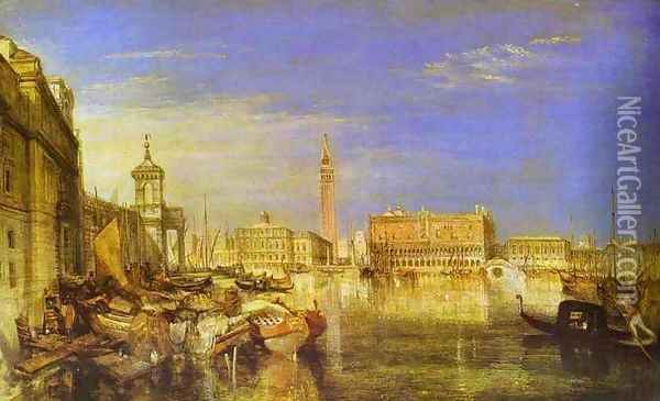 Bridge of Signs, Ducal Palace and Custom-House, Venice_ Canaletti Painting Oil Painting - Joseph Mallord William Turner
