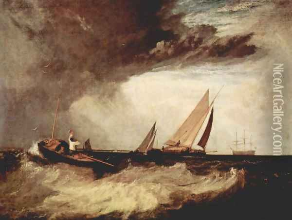 A fisherman from Bury Shoe Ness preit a Prahm of Whitstable Oil Painting - Joseph Mallord William Turner