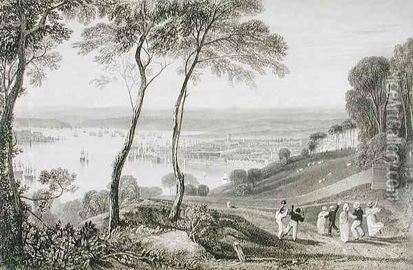 Plymouth Dock from Mount Edgecombe, from Cookes Picturesque Views of the Southern Coast of England engraved by William Bernard Cooke 1778-1855 1814-26 Oil Painting - Joseph Mallord William Turner