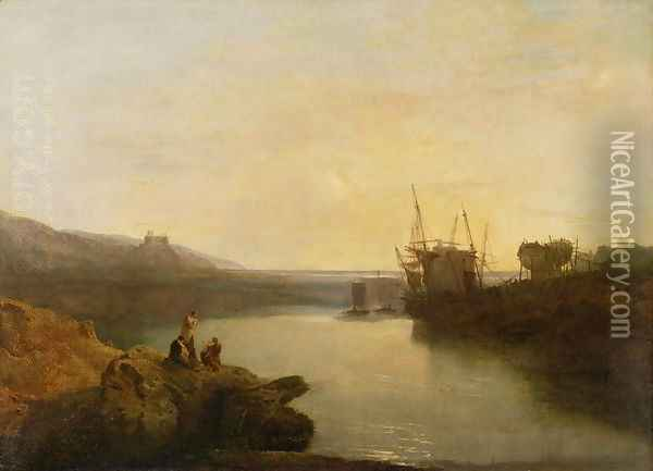 Harlech Castle, from Twgwyn Ferry, Summers Evening Twilight Oil Painting - Joseph Mallord William Turner