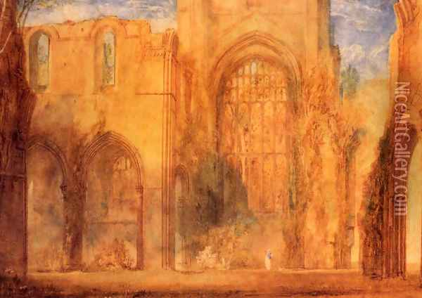 Interior Of Fountains Abbey Yorkshire Oil Painting - Joseph Mallord William Turner