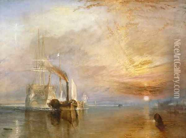 The Fighting Temeraire Tugged to her Last Berth to be Broken up, before 1839 Oil Painting - Joseph Mallord William Turner