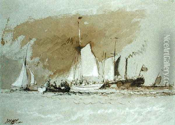 Fishing Boats at Sea, boarding a Steamer off the Isle of Wight Oil Painting - Joseph Mallord William Turner