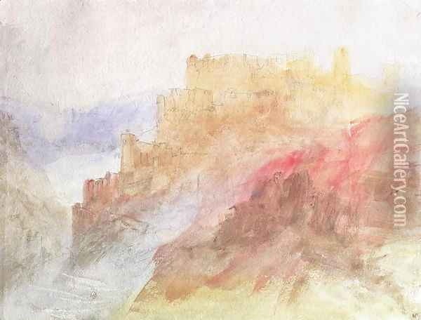 A Castle Above A Chasm, c.1841-44 Oil Painting - Joseph Mallord William Turner