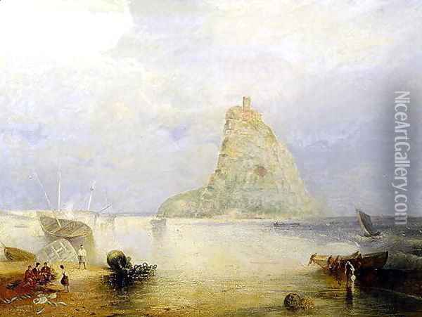 St. Michaels Mount, Cornwall, 1834 Oil Painting - Joseph Mallord William Turner