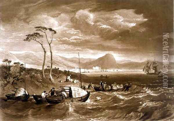 Inverary Castle and Town, from the Liber Studiorum, engraved by Charles Turner, 1816 Oil Painting - Joseph Mallord William Turner