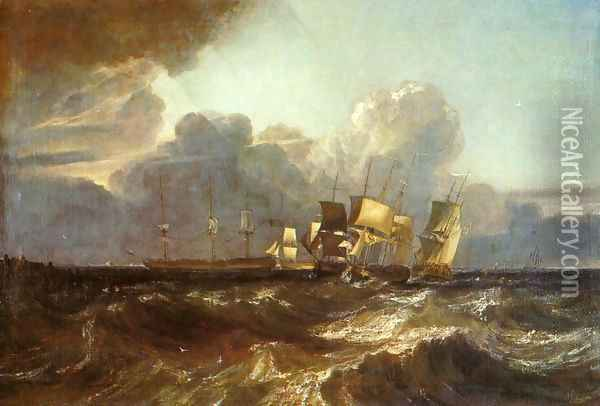 Ships Bearing Up for Anchorage (or The Egremont sea Piece) Oil Painting - Joseph Mallord William Turner