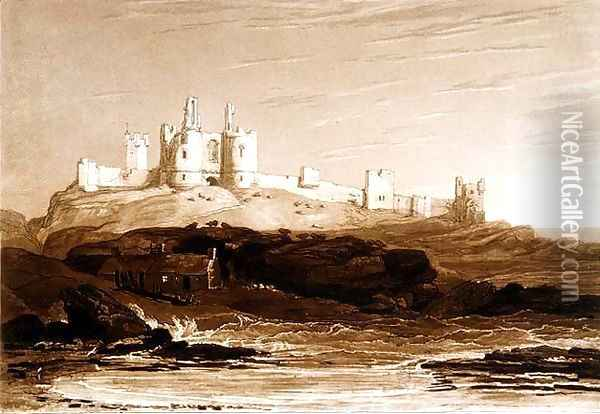 Dunstanborough Castle, from the Liber Studiorum, engraved by Charles Turner, 1808 Oil Painting - Joseph Mallord William Turner