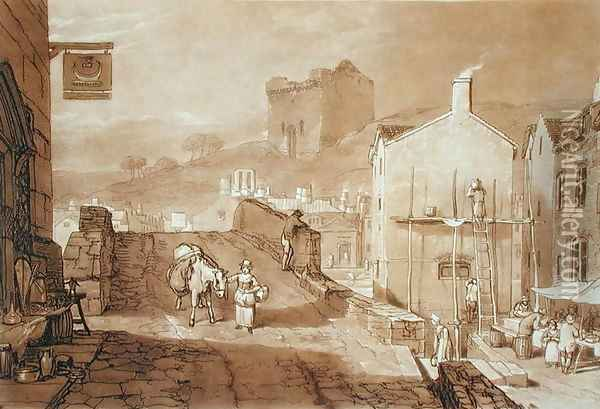Morpeth, Northumberland, engraved by Charles Turner 1773-1857 published 1808 Oil Painting - Joseph Mallord William Turner