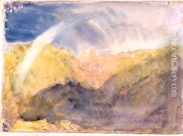Crichton Castle Mountainous Landscape with a Rainbow c.1818 Oil Painting - Joseph Mallord William Turner