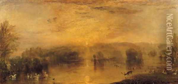 The Lake, Petworth Sunset, a Stag Drinking, c.1829 Oil Painting - Joseph Mallord William Turner