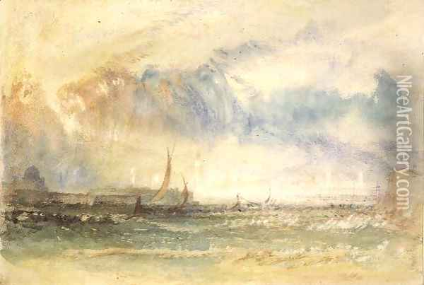 Storm at Sunset, Venice, c.1840 Oil Painting - Joseph Mallord William Turner