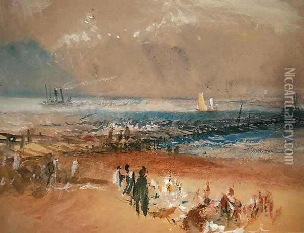 Boats at Margate Pier Oil Painting - Joseph Mallord William Turner