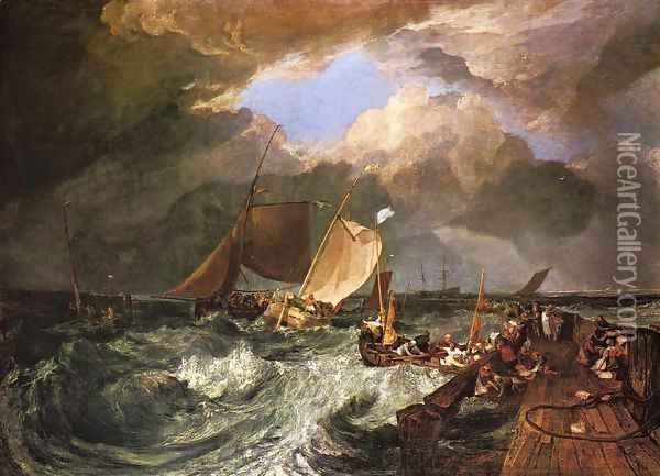 Calais Pier, with French Poissards Preparing for Sea: an English Packeet Arriving Oil Painting - Joseph Mallord William Turner