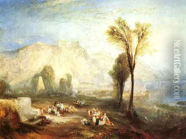 The Bright Stone of Honor (Ehrenbrietstein) and the Tomb of Marceau, from Byron's 'Childe Harold' Oil Painting - Joseph Mallord William Turner