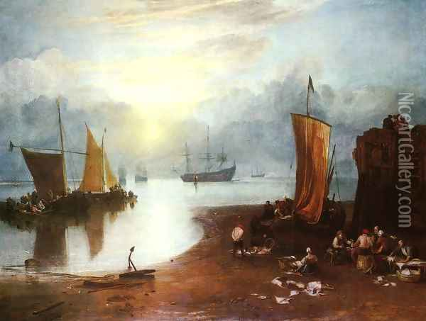 Sun Rising through Vagour; Fishermen Cleaning and Sellilng Fish Oil Painting - Joseph Mallord William Turner