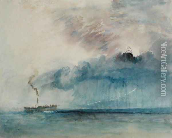 Steamboat in a Storm, c.1841 Oil Painting - Joseph Mallord William Turner