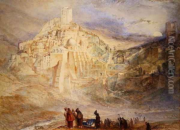 Wilderness A Engedi and Convent of Santa Saba Oil Painting - Joseph Mallord William Turner