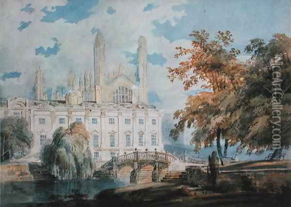 Clare Hall and the West End of King's College Chapel, Cambridge, from the banks of the River Cam, 1793 Oil Painting - Joseph Mallord William Turner