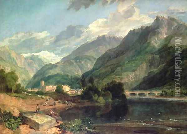 Bonneville, Savoy with Mont Blanc Oil Painting - Joseph Mallord William Turner