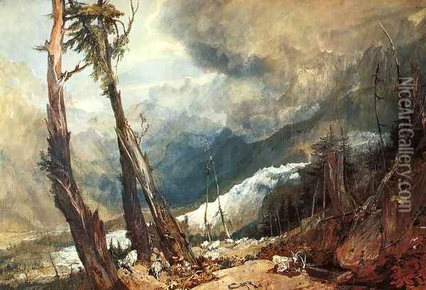 Glacier And Source Of The Arveron Going Up To The Mer De Glace Oil Painting - Joseph Mallord William Turner