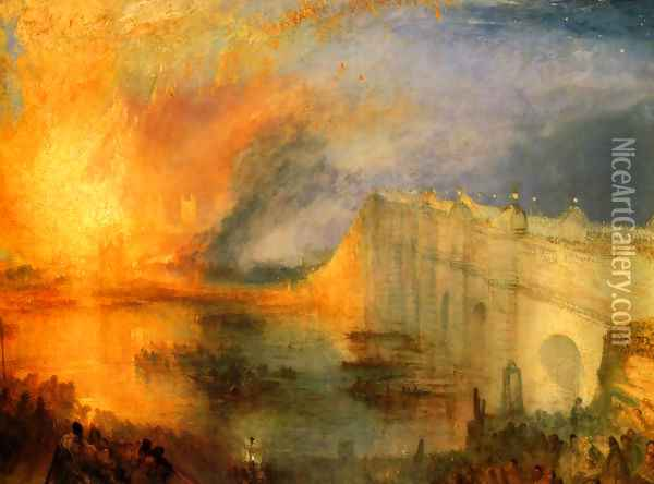 The Burning of the Houses of Parliament (1) 1834 Oil Painting - Joseph Mallord William Turner