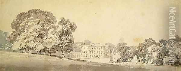A three storied Georgian house in a park, c.1795 Oil Painting - Joseph Mallord William Turner