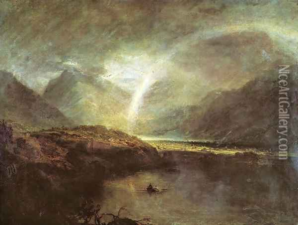 Buttermere Lake: A Shower Oil Painting - Joseph Mallord William Turner
