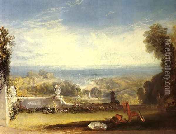 View From The Terrace Of A Villa At Niton Isle Of Wight From Sketches By A Lady Oil Painting - Joseph Mallord William Turner