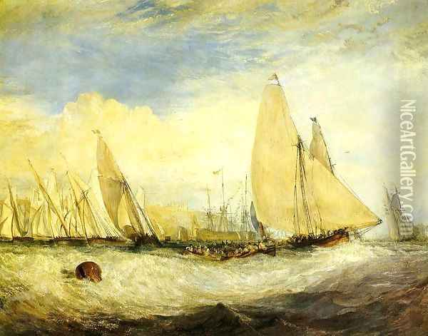 East Cowes Castle, the seat of J. Nash, Esq.; the Regatta beating to windward Oil Painting - Joseph Mallord William Turner