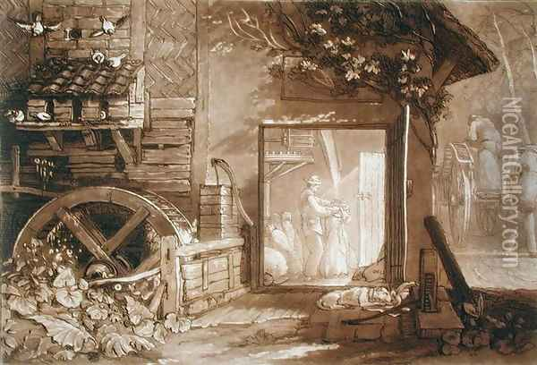 Penbury Mill, Kent, engraved by Charles Turner 1773-1857 published 1808 Oil Painting - Joseph Mallord William Turner