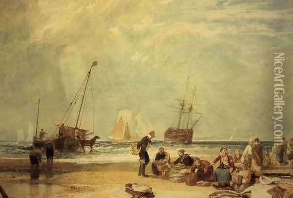 Fishmarket on the Sands, Hastings Oil Painting - Joseph Mallord William Turner