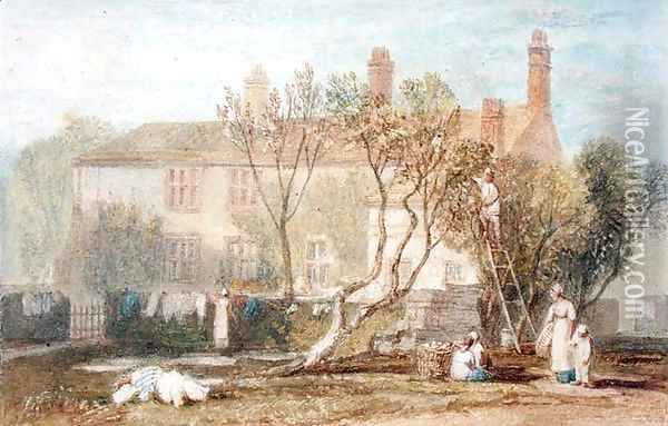 Steeton Manor House, near Farnley, c.1815-18 Oil Painting - Joseph Mallord William Turner
