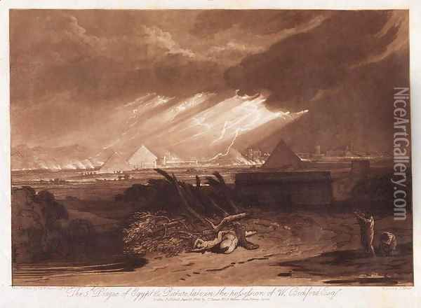The Fifth Plaque of Egypt, engraved by Charles Turner 1773-1857 1808 Oil Painting - Joseph Mallord William Turner