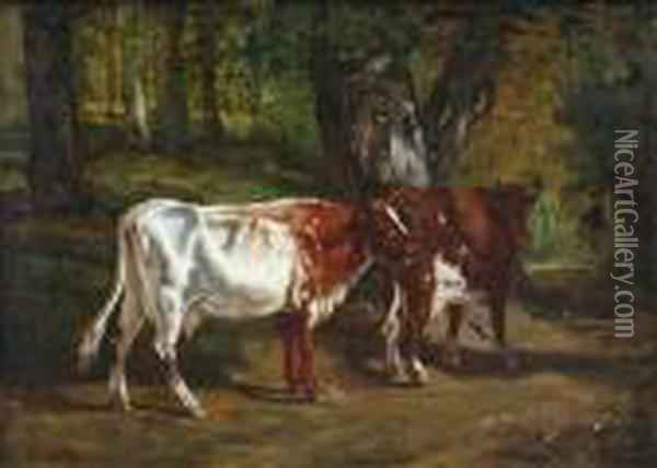 Cattle In A Forest Clearing Oil Painting - Constant Troyon
