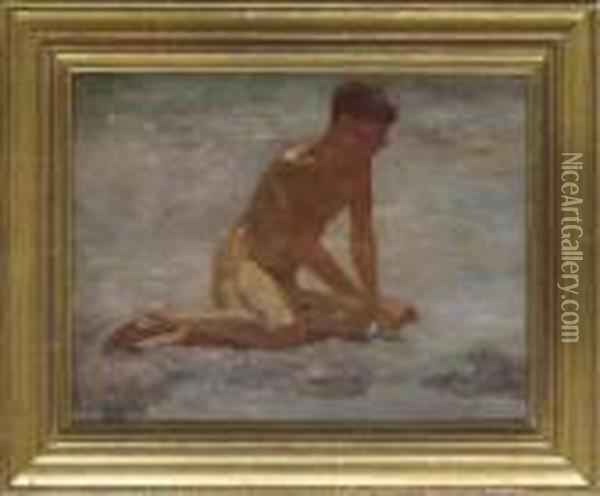 Study Of A Seated Bather Oil Painting - Henry Scott Tuke