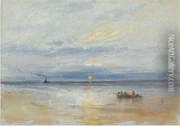 Coastal View At Sunset With Fishing Boat Returning To Port Oil Painting - Joseph Mallord William Turner