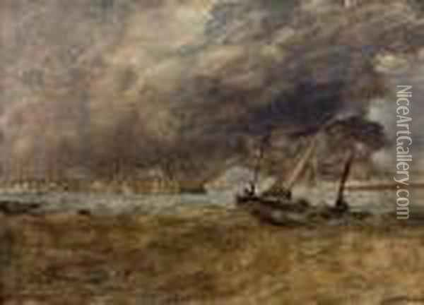 Seapiece With Fishing Boats Off A Wooden Pier, A Gale Comingin Oil Painting - Joseph Mallord William Turner