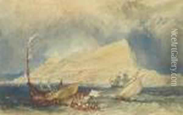 The Rock Of Gibraltar, With Shipping In The Foreground Oil Painting - Joseph Mallord William Turner