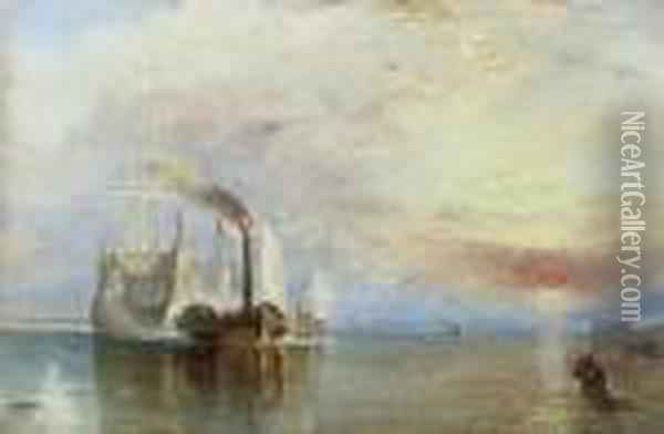The Fighting  Temeraire   Being Tugged To Her Last Berth To Be Broken Up Oil Painting - Joseph Mallord William Turner